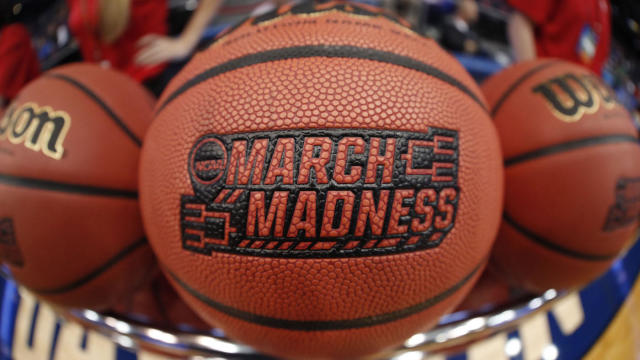 Mar 12, 2018; Dayton, OH, USA; March Madness logo scene on ball during practice before the First Four of the NCAA Tournament at Dayton Arena. Mandatory Credit: Brian Spurlock -USA TODAY Sports